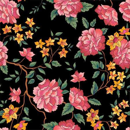 Floral pattern in chinese embroidery style. Flower seamless background. Flourish ornamental garden Vettoriali