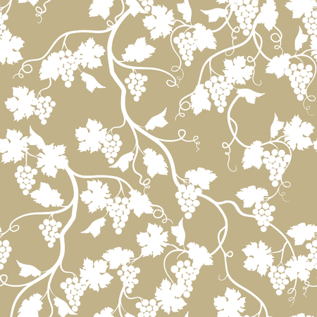 Floral seamless pattern with grape branch. Wineyard retro wallpaper. Garden background