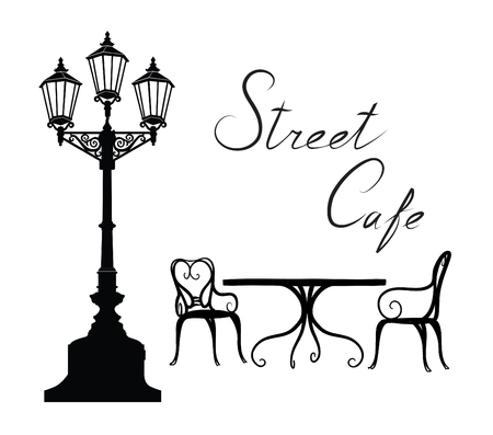 Street cafe - table, chairs, streetlight and lettering. City life design elements Illustration