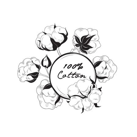 Etykieta bawełniana. Naturalny znak materiału z bawełny kwiatowej. Rę cznie narysowany kwiatowy rama Ilustracje wektorowe