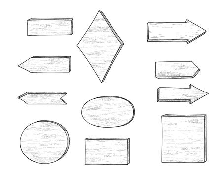Set van stijlvolle doodle houten verkeersbord en pijl. Retro gravure van planken. Hand getrokken aanwijzer, uithangbord, Wegwijzer doodle stijl collectie