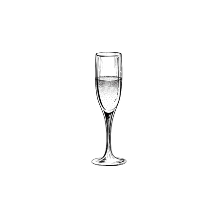 Drink champagne sign. Christmas party icon with wine glass. Hand drawn holiday card design Illustration