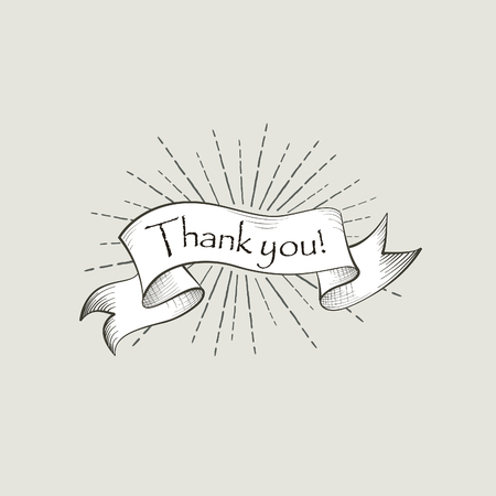Thank you sign. Vintage doodle lettering. Flag banner over retro background