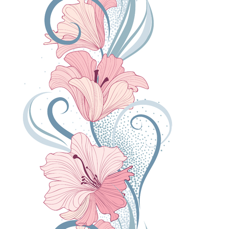 Floral seamless pattern. Flower lily border background. Greeting card design with flowers. Illustration