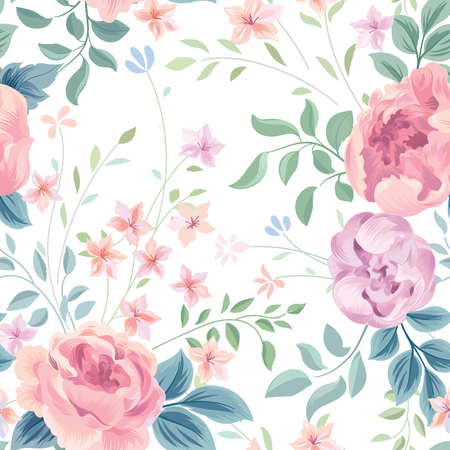 Floral seamless pattern. Flower rose and leaves on white background. Garden flourish wallpaper.