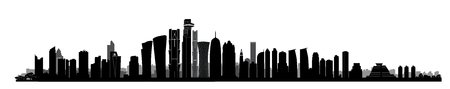 City Doha skyline. Arabic Urban cityscape. Qatar capital skyscraper buildings silhouette