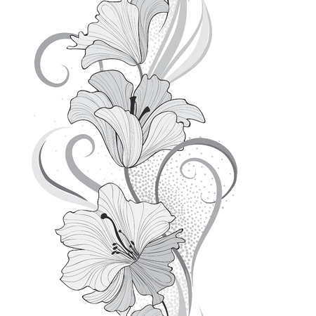 springtime background: Floral seamless pattern. Flower lily border background. Greeting card design with flowers. Illustration