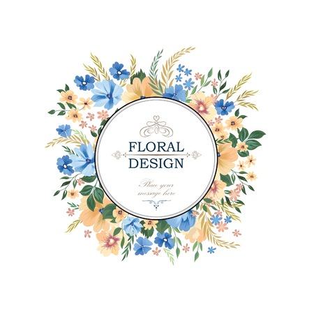 꽃 프레임 패턴입니다. 꽃 원 테두리 배경입니다. 꽃 인사말 카드 디자인입니다.