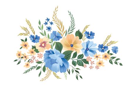 Floral frame pattern. Flower bouquet border background. Greeting card design with flowers. Vektorové ilustrace