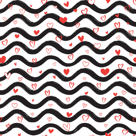 Abstract waves of love seamless pattern with hearts. Stylish holiday background. Wavy line ornamental wallpaper. Water wave line stripes with falling love hearts
