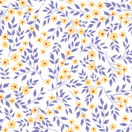 Floral seamless pattern with flowers and leaves over white background. Hand drawn fabric ornamental flower bloom background. Floral line art decor design