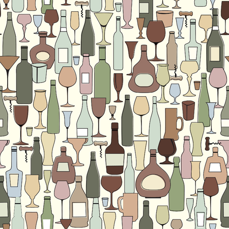 Wine bottle and wine glass seamless pattern. Drink wine bar tile background. Vinary party decor