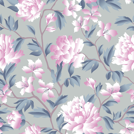 Fantastic flowers Chinese style background. Flourish wallpaper with plants and flowers chrysanthemum.