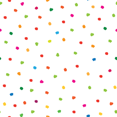 Abstract seamless pattern with hand drawn polka dot. Ornamental multi color white background. Spot wallpaper design. Illusztráció