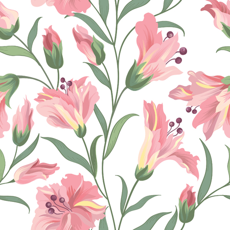 Floral seamless pattern. Nature vegetation background. Flourish wallpaper with flowers.