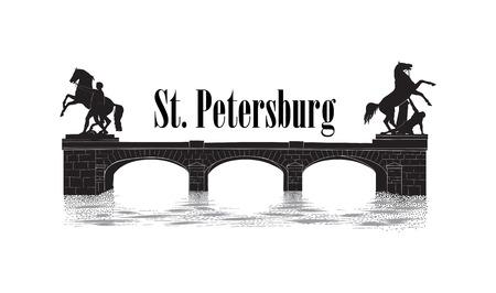 St. Petersburg city symbol, Russia. Anichov bridge landmark silhouette, Fontanka river view. Russian cityscape vector background. 일러스트