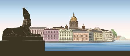 St. Petersburg stad, Rusland. De kathedraalhorizon van heilige Isaac met het Egyptische silhouet van het de monumentenoriëntatiepunt van de Sfinx, Neva-riviermening. Russische stadsgezicht achtergrond.