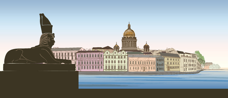 St. Petersburg city, Russia. Saint Isaacs cathedral skyline with Egyptian Sphinx monument landmark silhouette, Neva river view. Russian cityscape background.