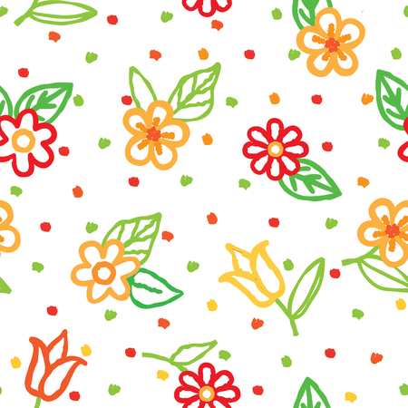 Floral seamless pattern with flowers and leaves over white background. Fabric ornamental summer background. Floral line art decor design.
