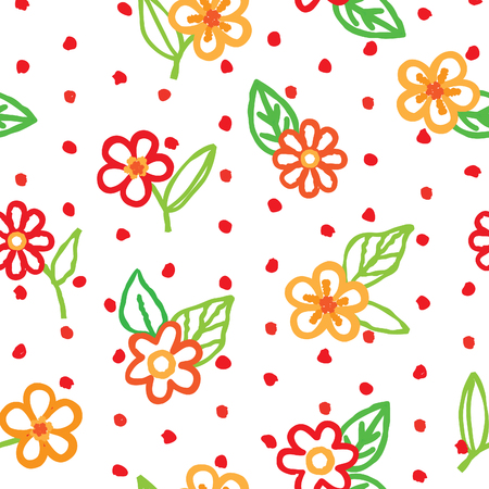 Floral seamless pattern with flowers and leaves over white background. Ornamental holiday background. Floral dotted decor wallpaper