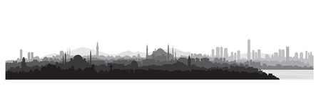 Istanbul city skyline, travel Turkey background. Urban panoramic view, cityscape with famous building silhouette. Stock Illustratie