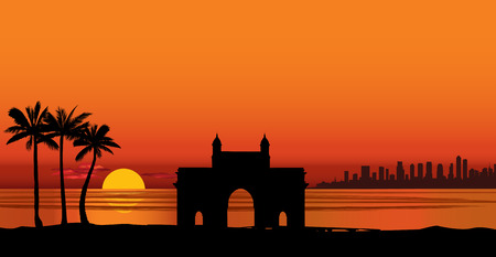 Mumbai city view with famous landmark in India. Urban ocean skyline with skyscraper buildings silhouette, travel Asia background.