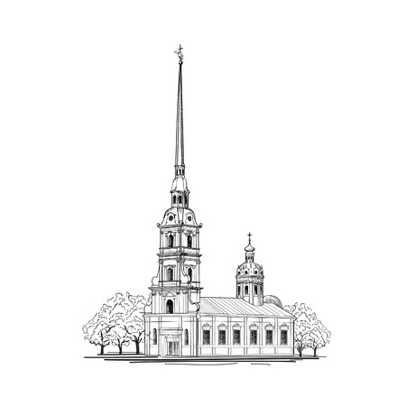 Saint-Petersburg city, Russia. Saint Peter and Paul Cathedral building sketch. Russian travel background.