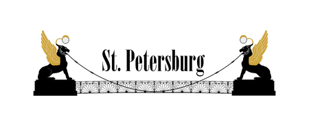 St. Petersburg city symbol, Russia. Bank bridge with winged lions Landmark silhouette, Griboedov Canal view. Russian cityscape background. Street icon of  Saint Petersburg