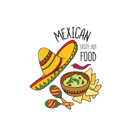 Mexican food symbol. National cuisine set. Mexican dish doodles sign. Fastfood icons with musical instrument and sombrero hat. Illustration