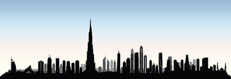 City Dubai skyline. UAE Urban cityscape. United Arab Emirates skyscraper buildings silhouette Banco de Imagens - 95503386