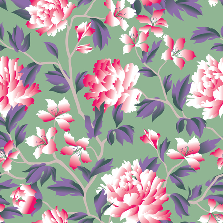 Floral seamless pattern. Flower background. Flourish garden wallpaper with flowers in chinese style. Vettoriali
