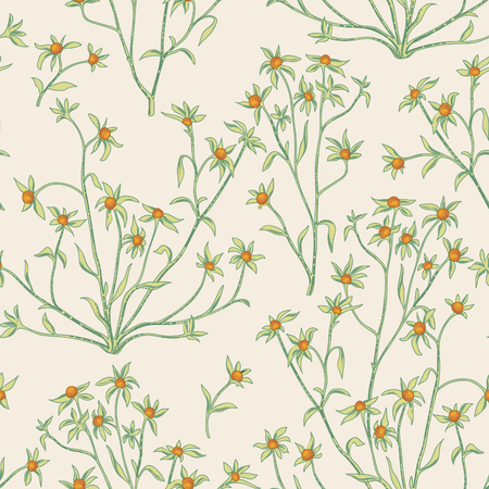 Floral seamless pattern. Nature vegetation  background. Flourish wallpaper with berries and flowers. Illustration