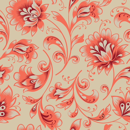 Floral seamless pattern. Flower silhouette ornament. Ornamental flourish background, orient ethnic style