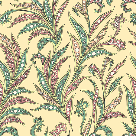 Floral leaf oriental seamless pattern. Wonderland leaves motives of the paintings of ancient Indian fabric patterns.