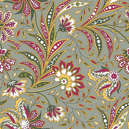 Floral pattern. Flourish tiled oriental ethnic background. Arabic ornament with fantastic flowers and leaves. Wonderland motives of the paintings of ancient Indian fabric patterns. Illustration