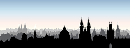 Prague city, Chezh Republic. Urban skyline Cathedral landmark building. Cityscape panoramic view. Travel background