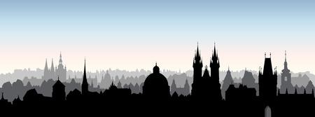 Ville de Prague, République de Chezh. Skyline urbain bâtiment de point de repère de la cathédrale. Vue panoramique du paysage urbain. Fond de voyage Vecteurs