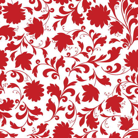 Floral seamless pattern. Flower silhouette ornament. Ornamental flourish background, ethnic style