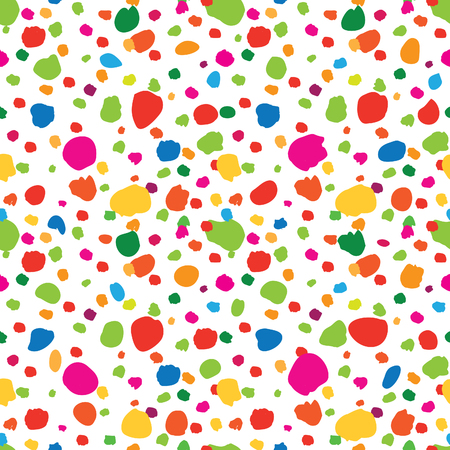 Abstract seamless pattern with hand drawn polka dot. Ornamental multicolor white background. Spot wallpaper design