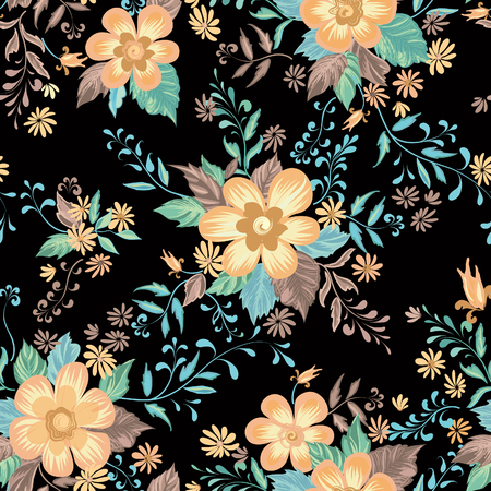 Floral seamless pattern. Flower background. Abstract ornamental flourish wallpaper with flowers.