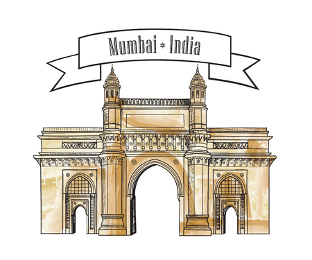 Mumbai city gate way icon, India. Famous indian hand drawn Maharashtra landmark. Travel India background Ilustração