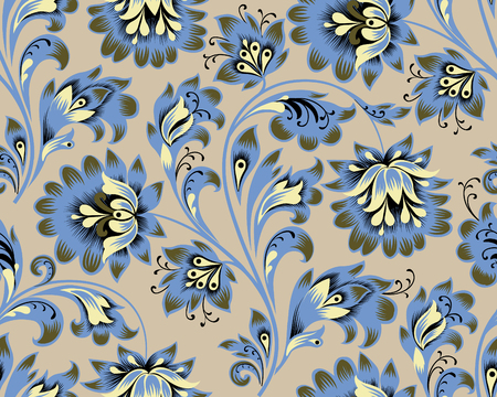 Floral seamless pattern. Flower ornament. Ornamental flourish background in traditional folk russian style