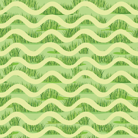 Abstract wave grass lush seamless pattern. Summer holiday background. Nature wallpaper