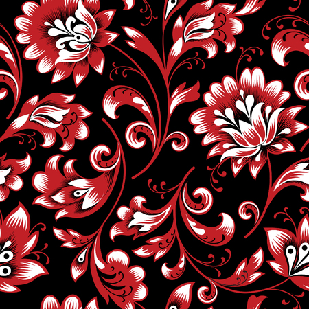Floral seamless pattern. Flower silhouette ornament. Ornamental flourish background, orient ethnic retro style