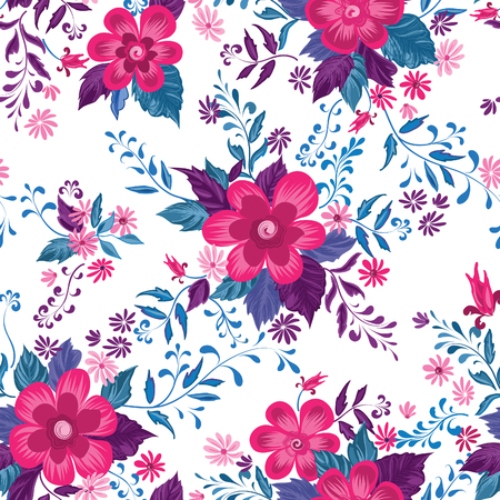 Floral seamless pattern. Flower background. Flourish ornamental summer wallpaper with flowers.