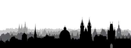 Prague city, Czech. Urban skyline with cathedral landmark buildings silhouette. Travel Prague background Imagens - 104632584