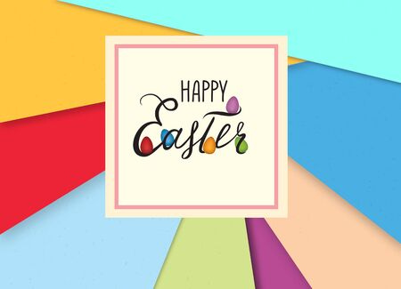 Happy Easter greeting card. Holiday background with Easter eggs