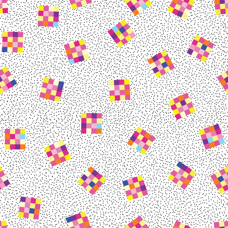 Abstract geometric seamless pattern. Stylish dotted background in 1980s electronic game style
