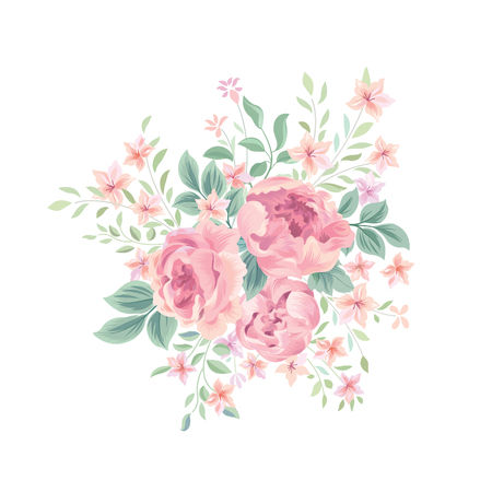 Floral background. Flower rose bouquet isolated. Flourish spring floral greeting card design Illustration