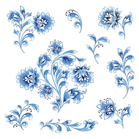 Floral pattern decor element set. Ornamental flower branch collection over white background. Russian folk ethnic floral ornament. Illustration